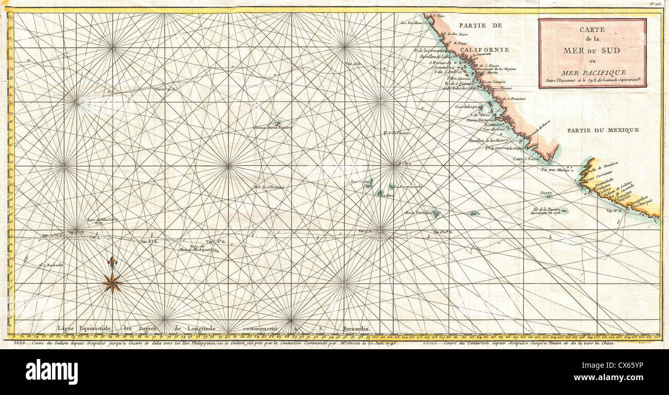 1750 Anson Map of Baja California and the Pacific w- Trade Routes from Acapulco to Manila - Stock Image
