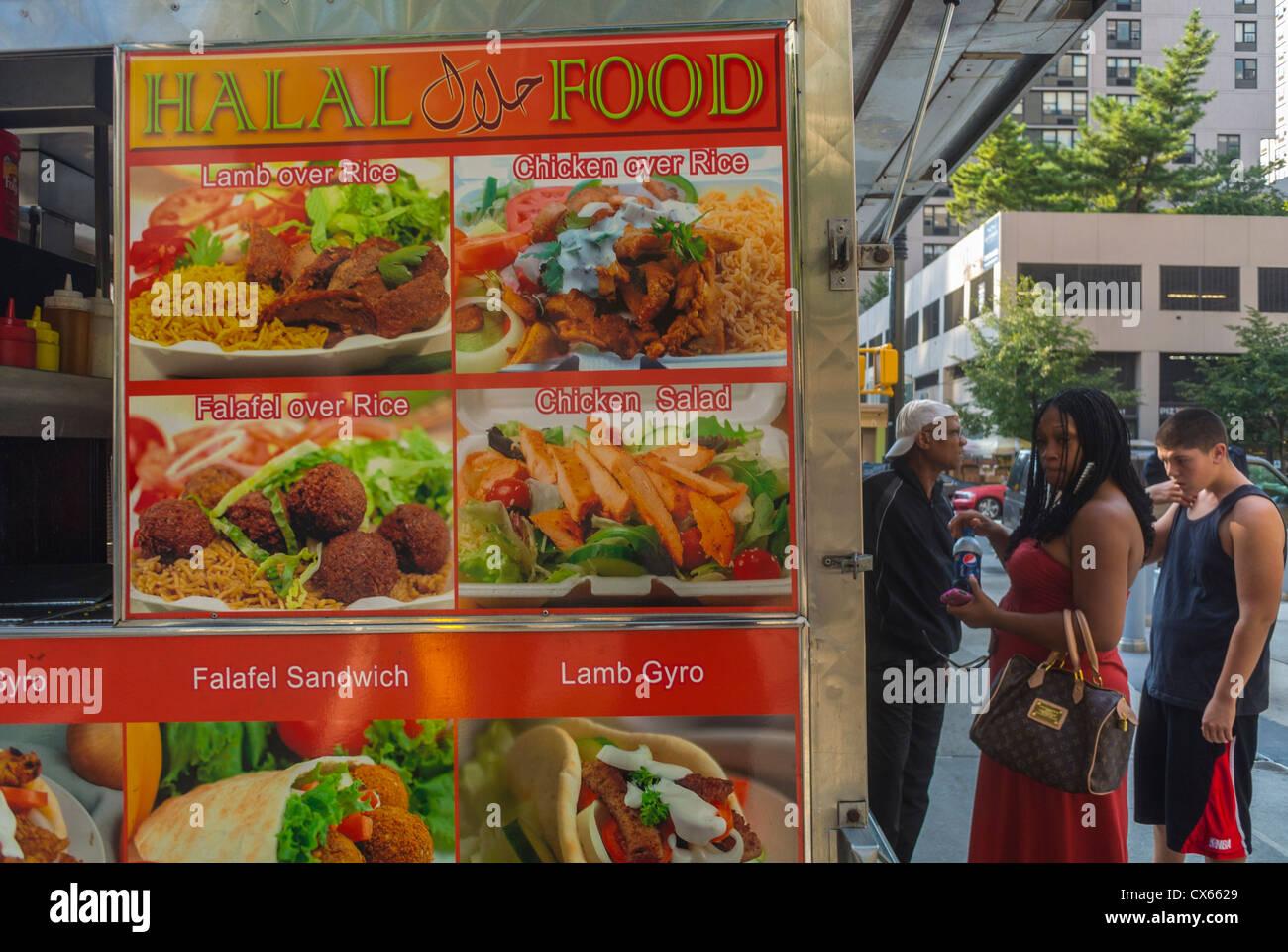 New York, NY, USA, Detail, Sign, Menu, Street Vendor, People