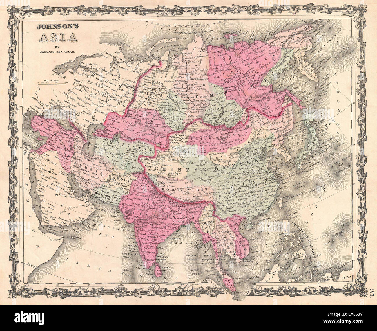 1862 Johnson Map of Asia - Stock Image
