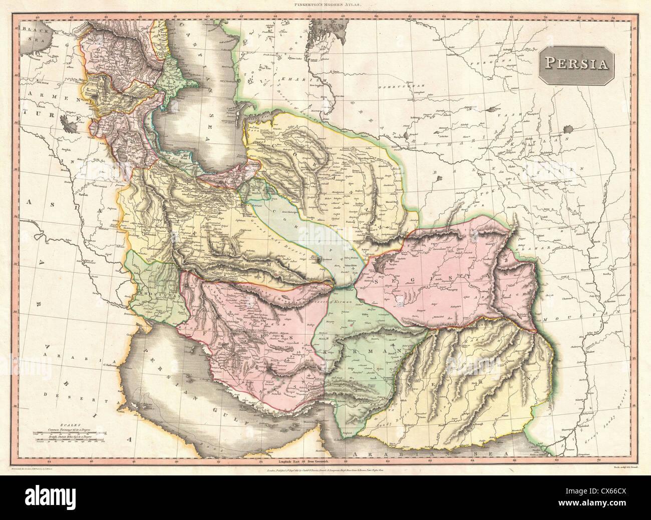 1811 Pinkerton Map of Persia ( Iraq, Iran, Afghanistan) - Stock Image