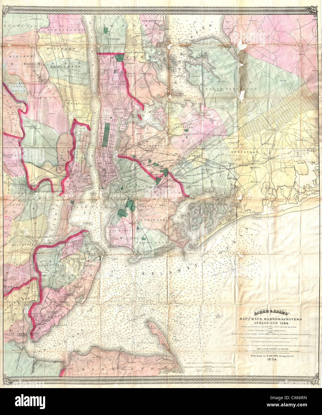 Map Of New York Rivers.1874 Dripps Map Of The Bays Harbors And Rivers Around New York City