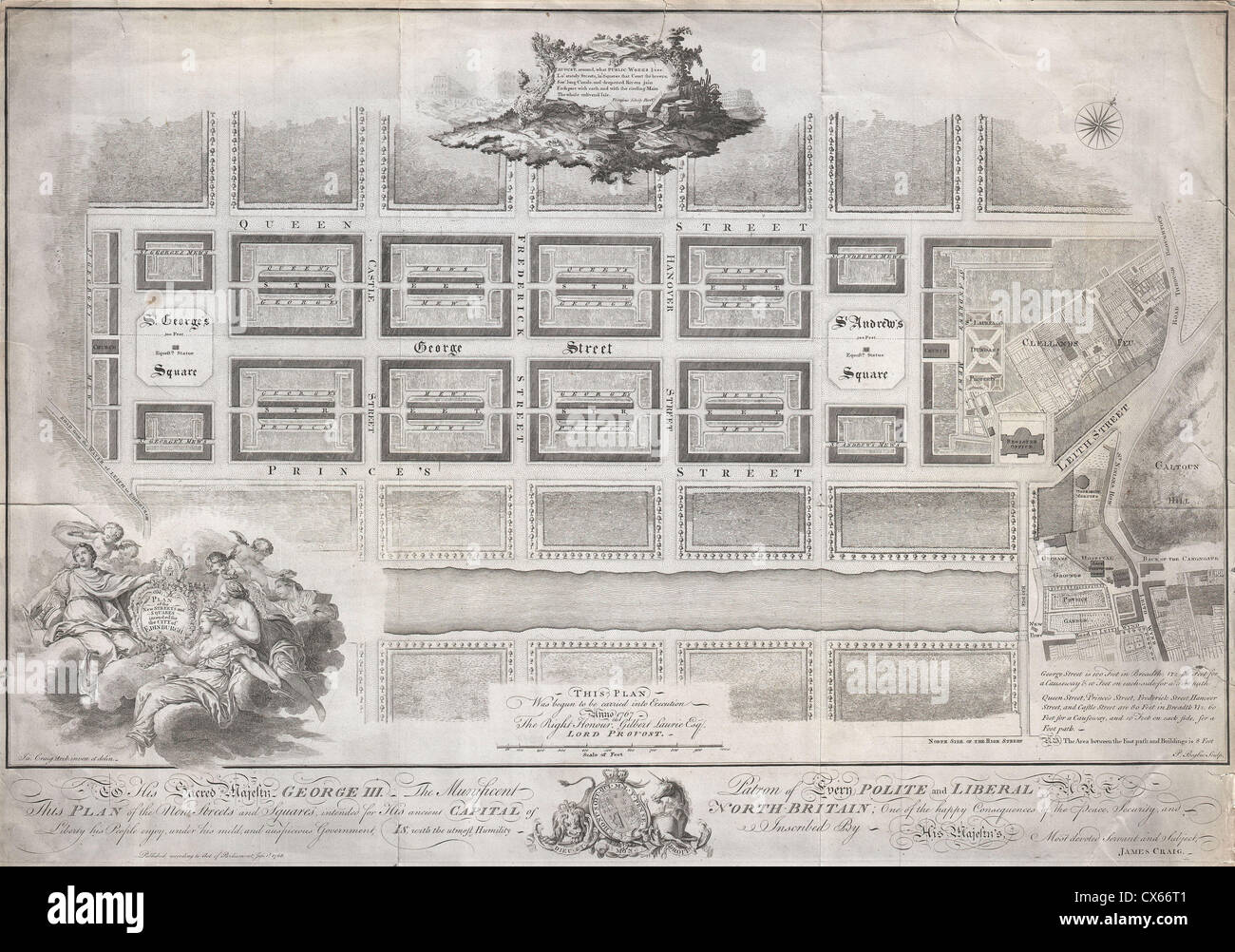 1768 James Craig Map of New Town, Edinburgh, Scotland (First Plan of New Town) - Stock Image