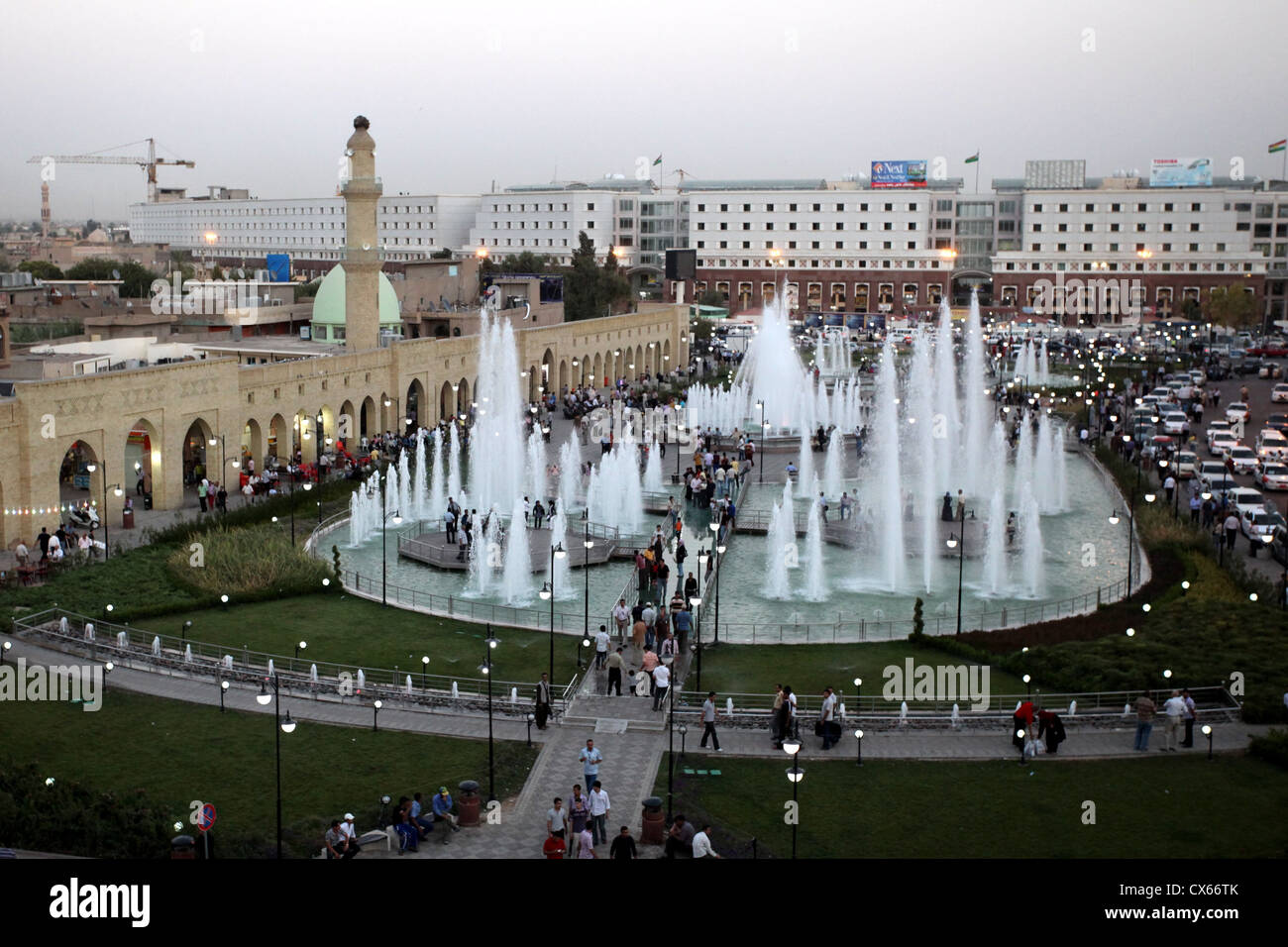Evening at Shar Garden Square, Erbil, Iraq – Kurdistan - Stock Image