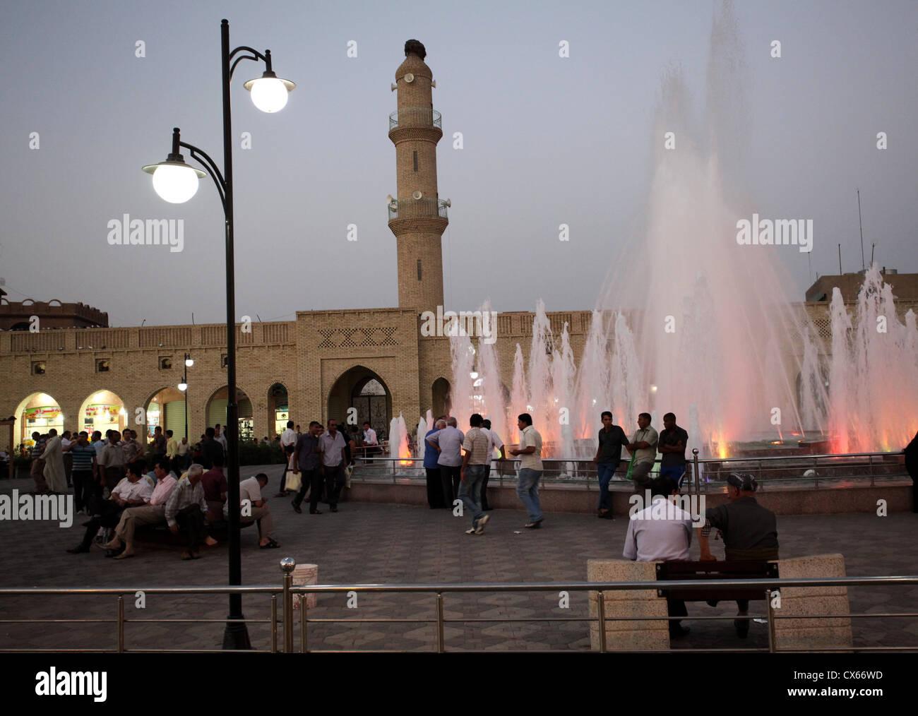 Evening at Shar Garden Square, Erbil, Iraq - Kurdistan - Stock Image