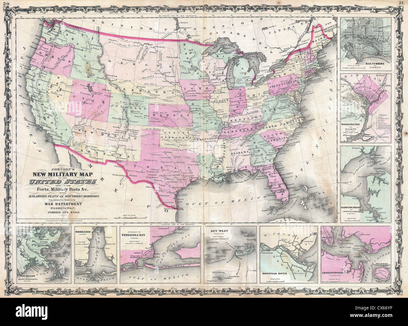 United States Civil War Map Stock Photos & United States Civil War ...