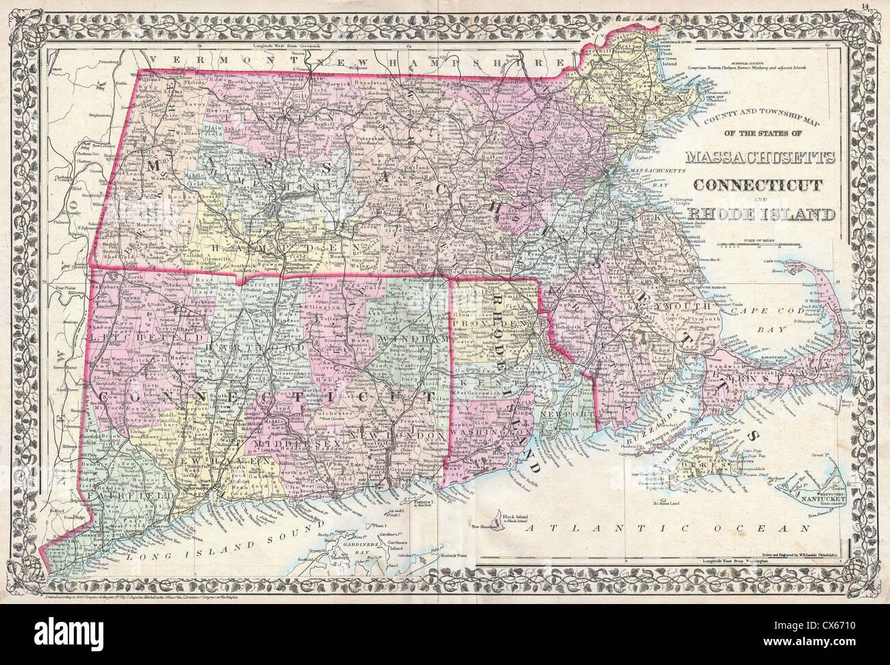 Map Map Massachusetts Connecticut Rhode Stock Photos & Map Map ...