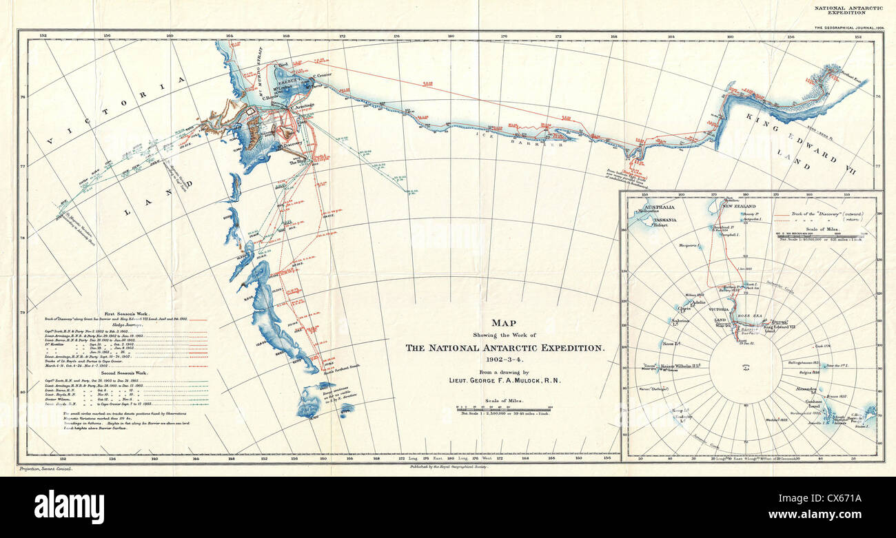 1904 Antarctic Expedition Map of Victoria Land and King Edward VII Land, Antarctica - Stock Image