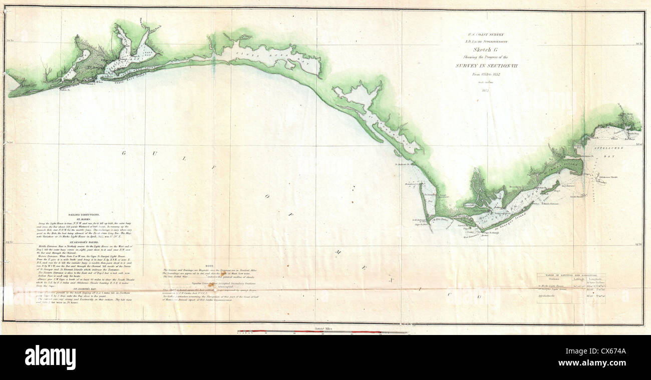 1852 U.S. Coast Survey Map of the Florida Panhandle - Stock Image