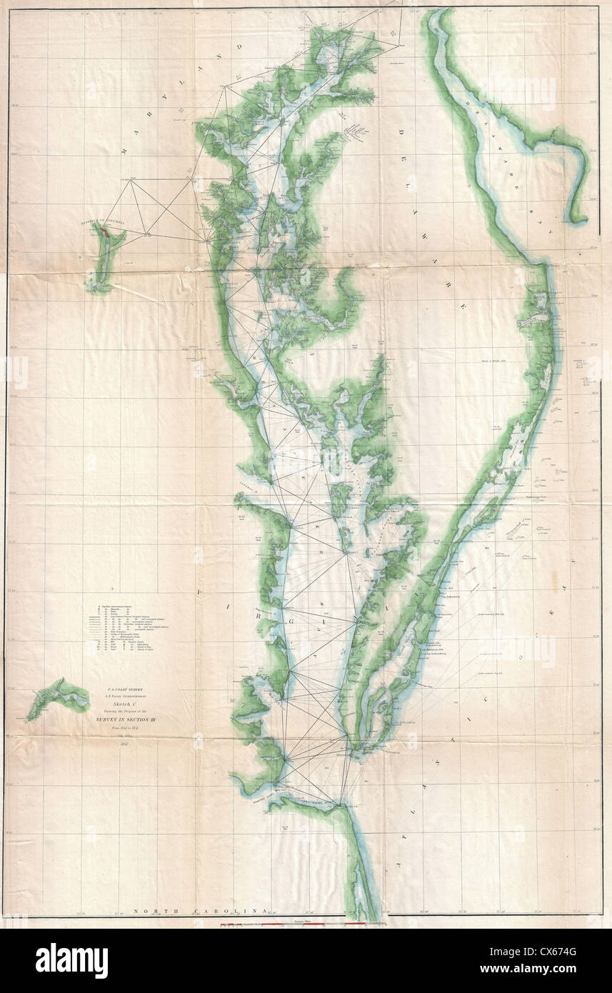 1852 U.S. Coast Survey Chart or Map of the Chesapeake Bay and Delaware Bay - Stock Image