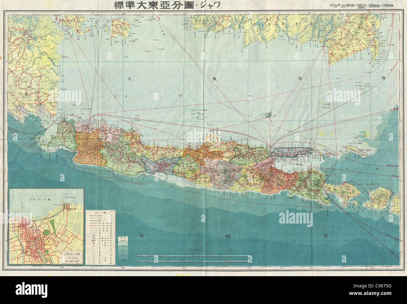 1943 world war ii japanese aeronautical map of java