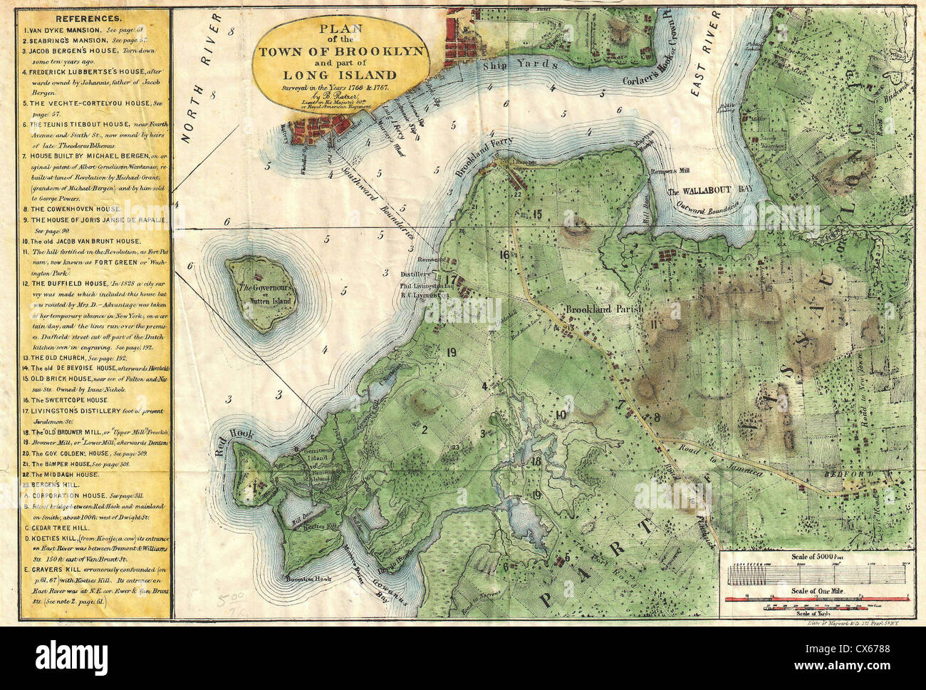 1867 Stiles Map Of Brooklyn New York Stock Photo 50539224 Alamy