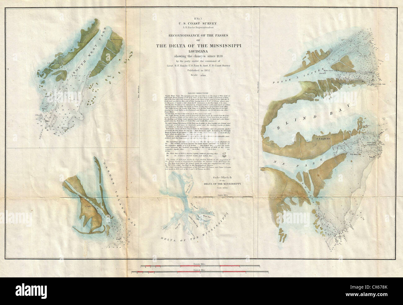 1852 U.S. Coast Survey Map of the Mississippi River Delta Stock ...