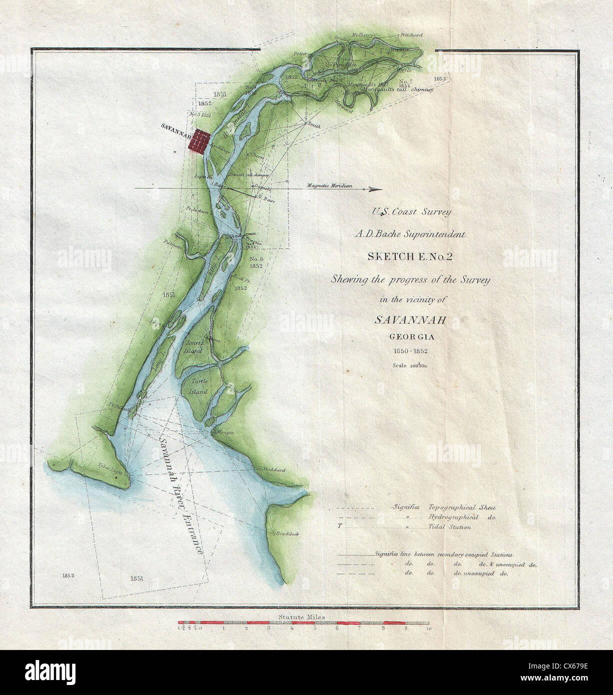 5 U.S. Coast Survey Map of Savannah Georgia and the Savannah