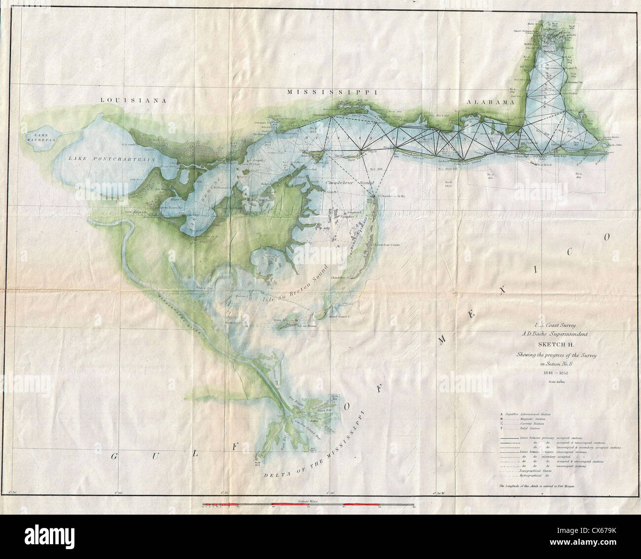 1853 U S Coast Survey Map Of Lake Pontchartrain New Orleans And