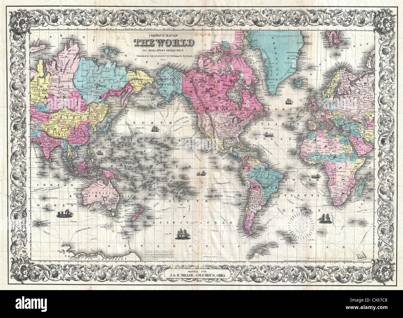 1852 Colton's Map of the World on Mercator's Projection ( Pocket Map ) - Stock Image