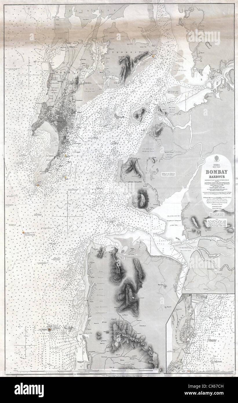 1879 British Admiralty Chart or Map of Bombay Harbor, India ( Mumbai - Stock Image