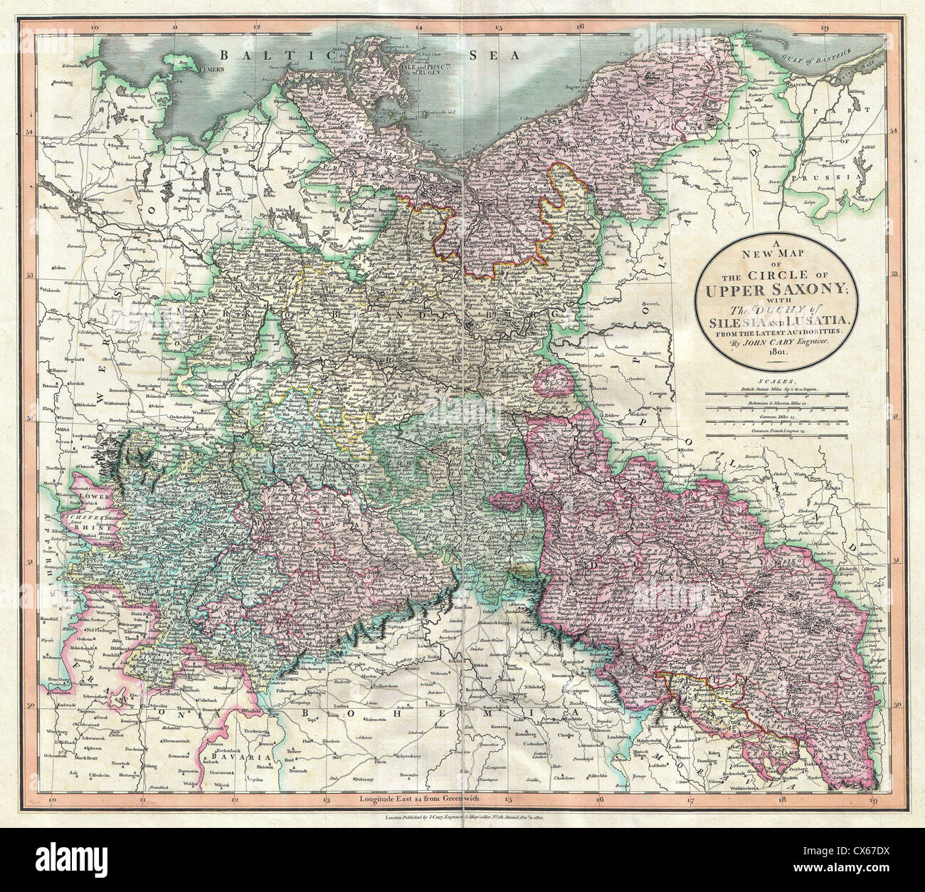 1801 Cary Map Of Upper Saxony Germany Berlin Dresden Stock Photo