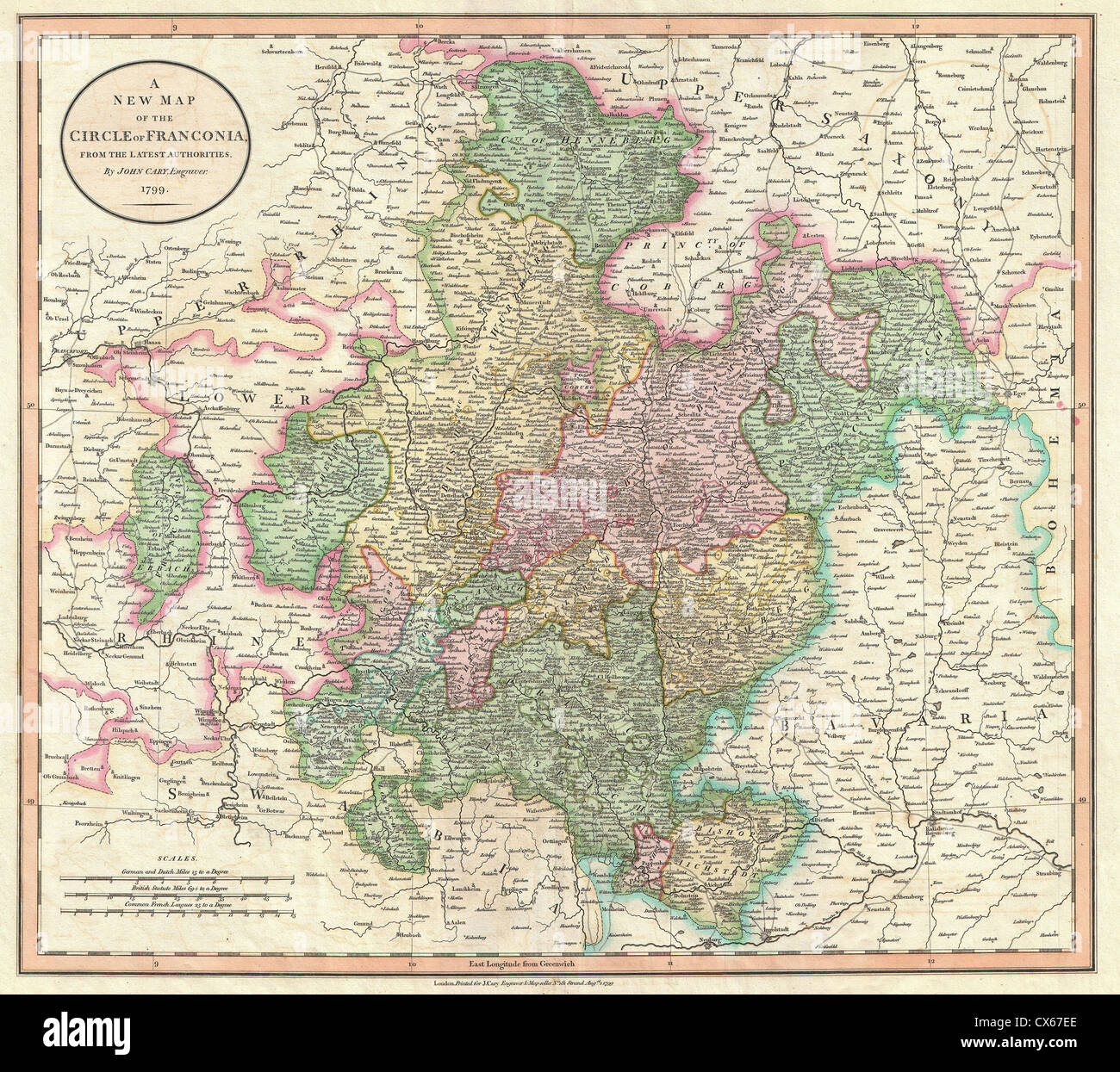 1799 Cary Map of Franconia, Germany ( Nuremburg Stock Photo ... Cary Map on