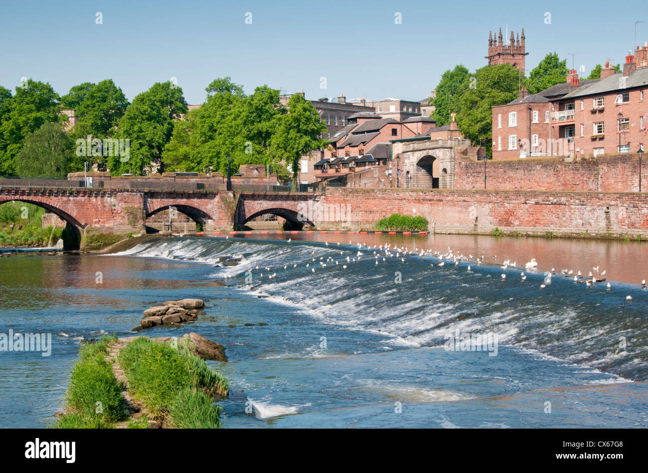 The Old Dee Bridge, Bridgegate, River Dee Weir & Salmon Leap, Chester, Cheshire, England, UK Stock Photo