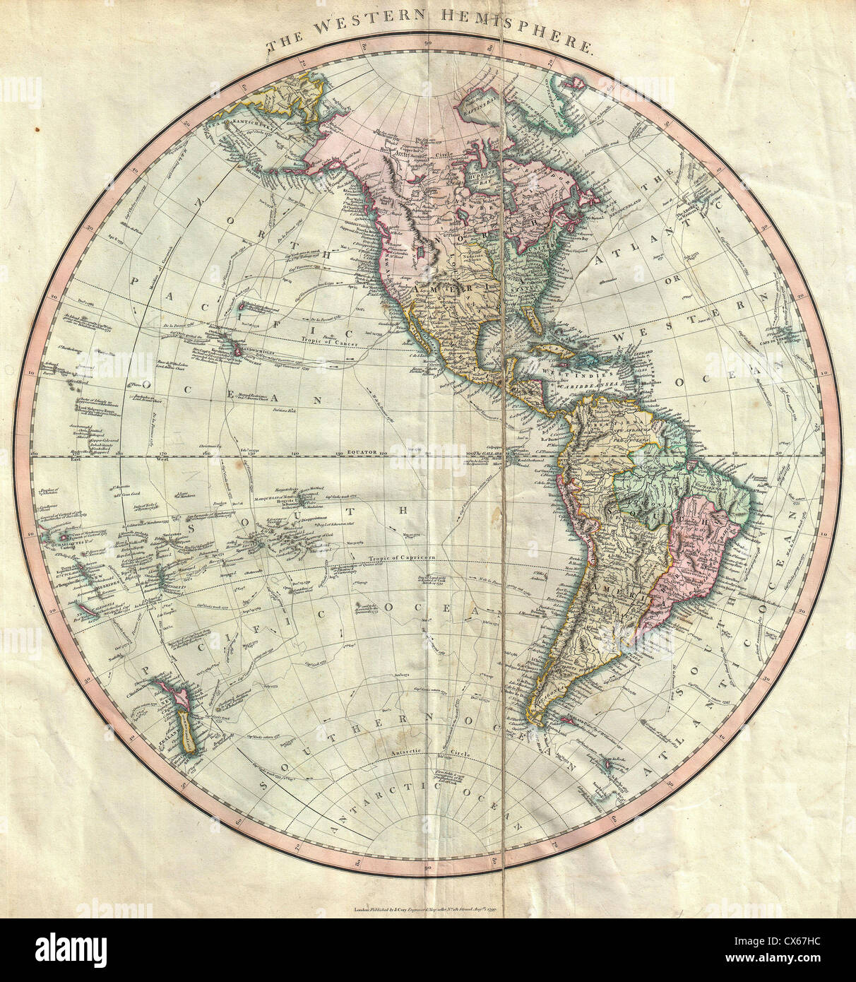1799 Cary Map Of The Western Hemisphere ( America ^ Polynesia   Stock Image