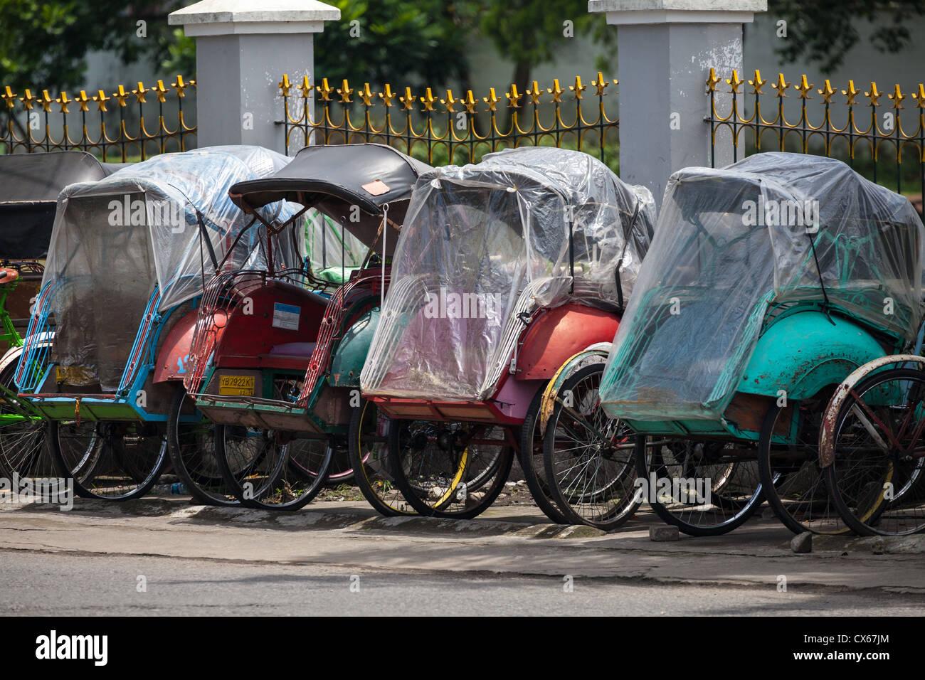 Typical Rickshaw in Yogyakarta in Indonesia Stock Photo