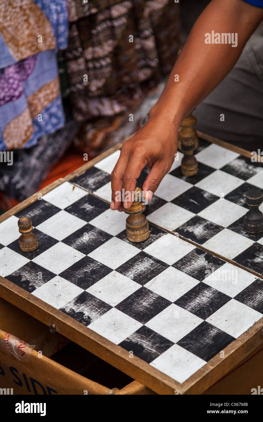Playing Chess in the Streets of Yogyakarta in Indonesia - Stock Image