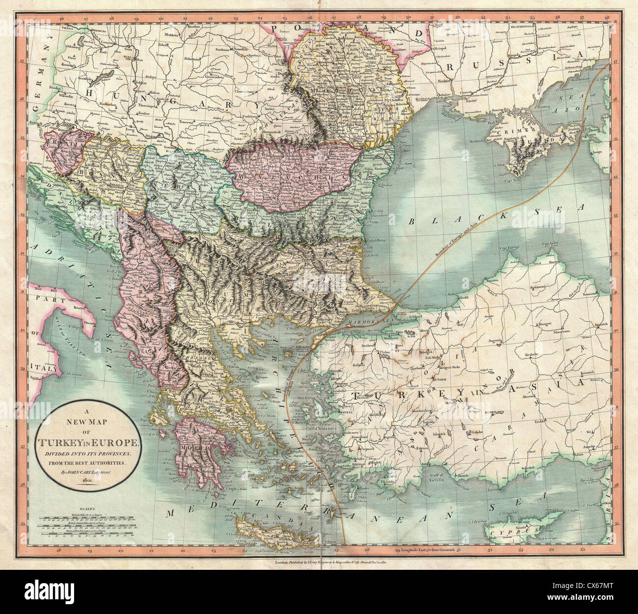 Map of greece and turkey stock photos map of greece and turkey 1801 cary map of turkey in europe greece and the balkan stock image gumiabroncs Images