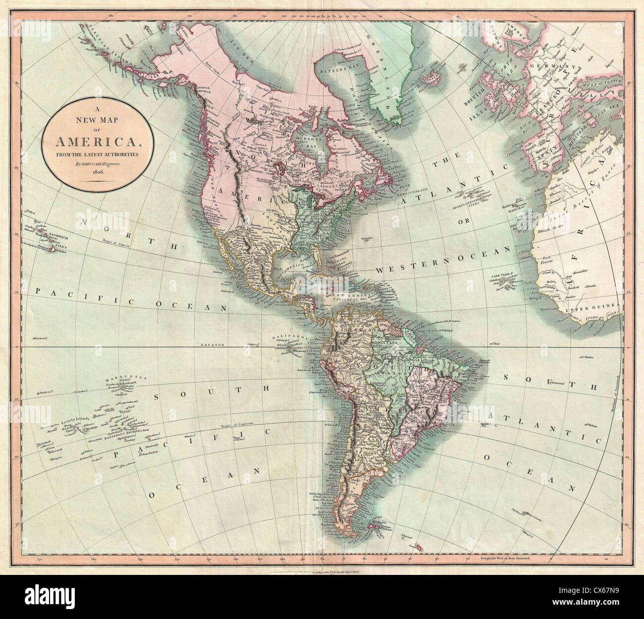 South hemisphere map stock photos south hemisphere map stock 1806 cary map of the western hemisphere north america and south america stock gumiabroncs Images