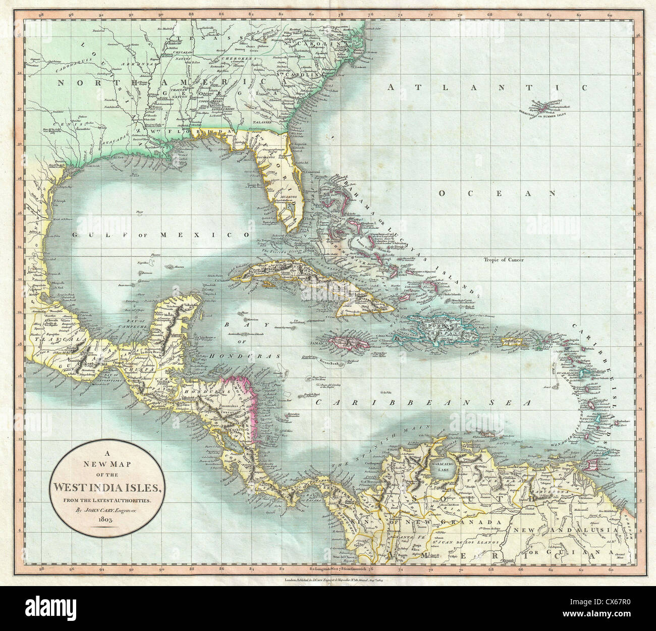 1803 Cary Map of Florida, Central America, the Bahamas, and the West Indies - Stock Image