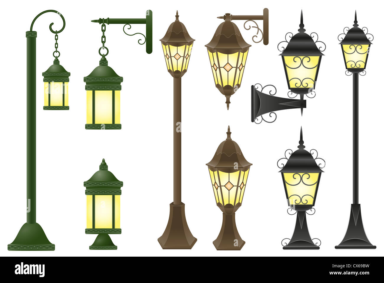 set streetlight illustration isolated on white background Stock Photo