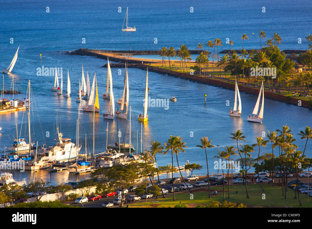 Ala Wai Yacht Harbor, Waikiki, Oahu, Hawaii - Stock Image