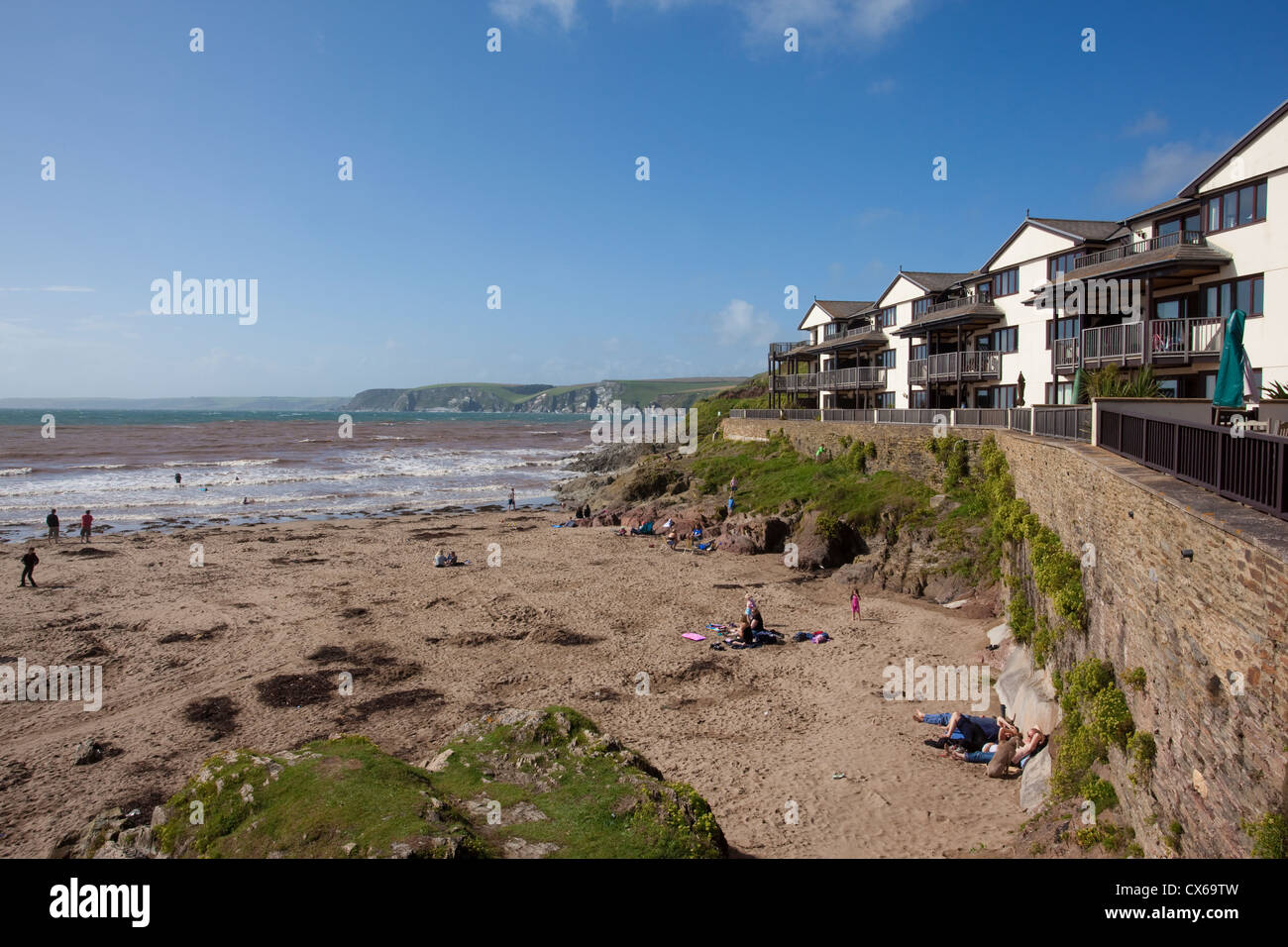 Holiday apartments overlooking the beach at Bigbury Bay, Bigbury-On-Sea looking out towards Burgh Island, Devon, - Stock Image