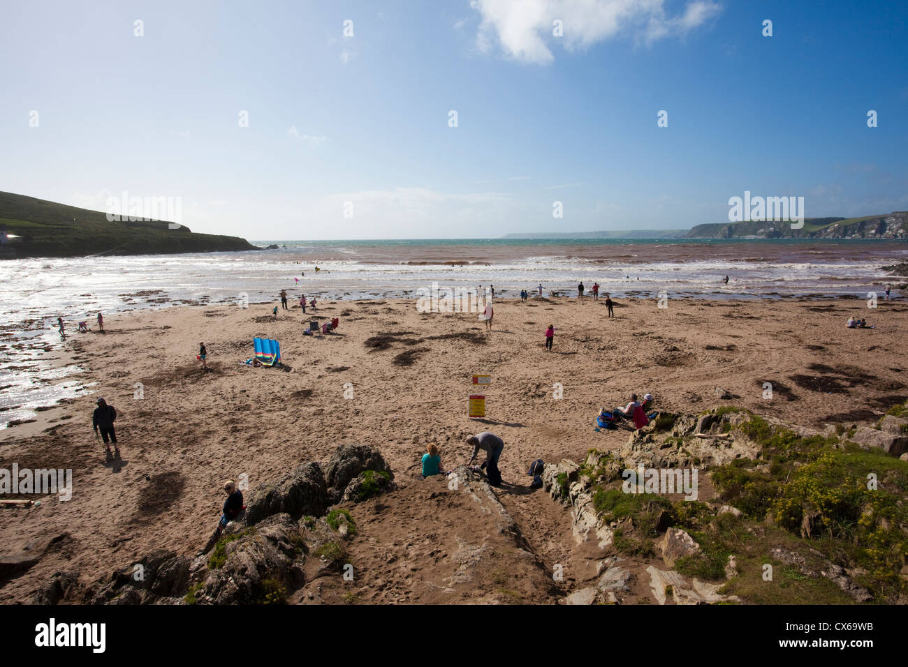Coastal beach at Bigbury Bay, Bigbury-On-Sea looking out towards Burgh Island, Devon, England, UK - Stock Image
