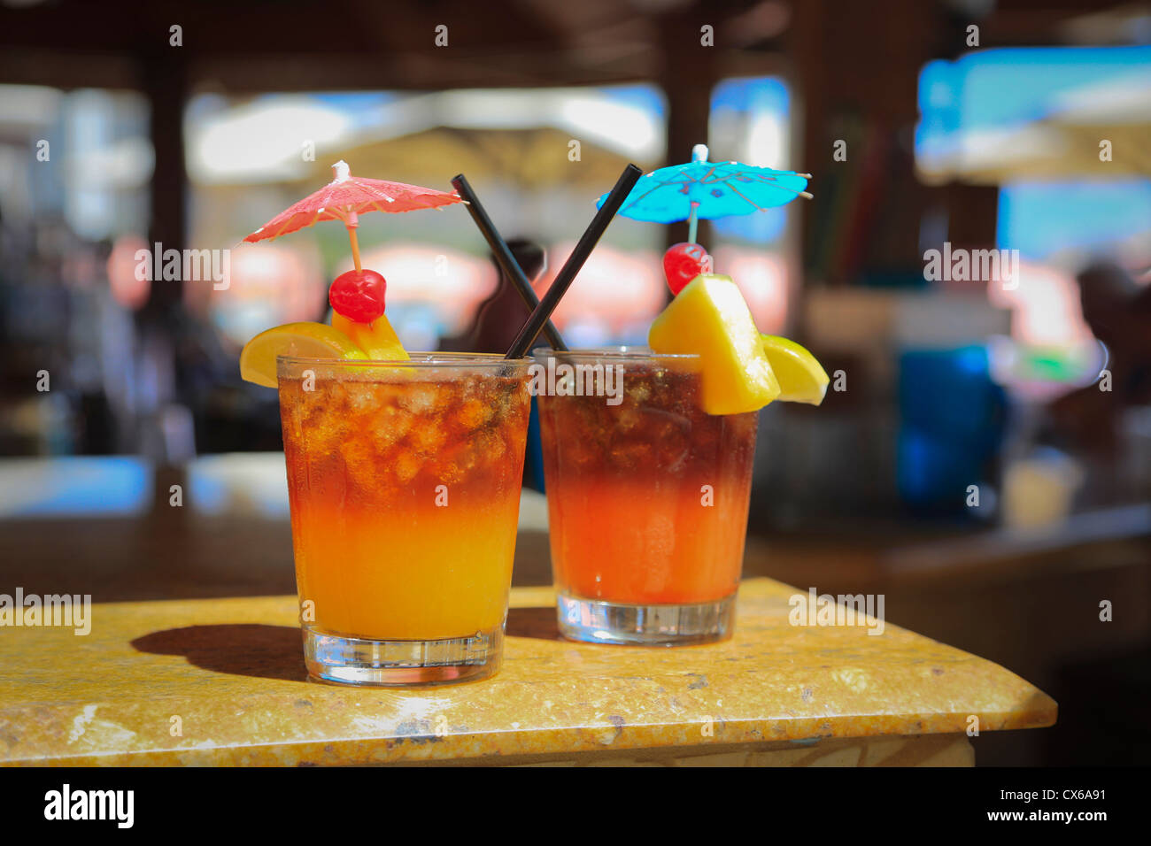 Mai Tai Bar, Royal Hawaiian Hotel, Waikiki, Honolulu, Oahu, Hawaii - Stock Image