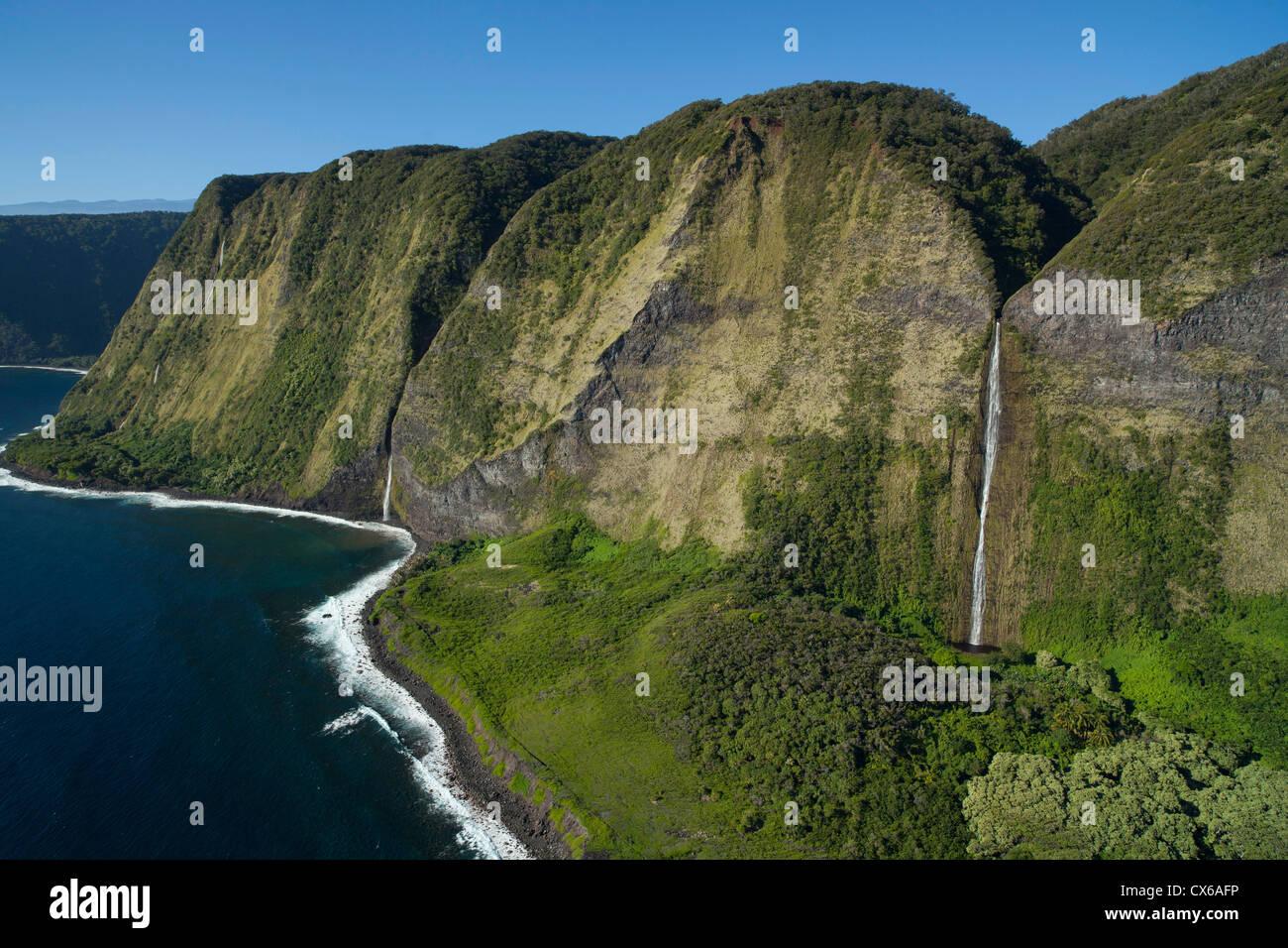 Waterfalls, North Kohala Coast, Big Island of Hawaii - Stock Image