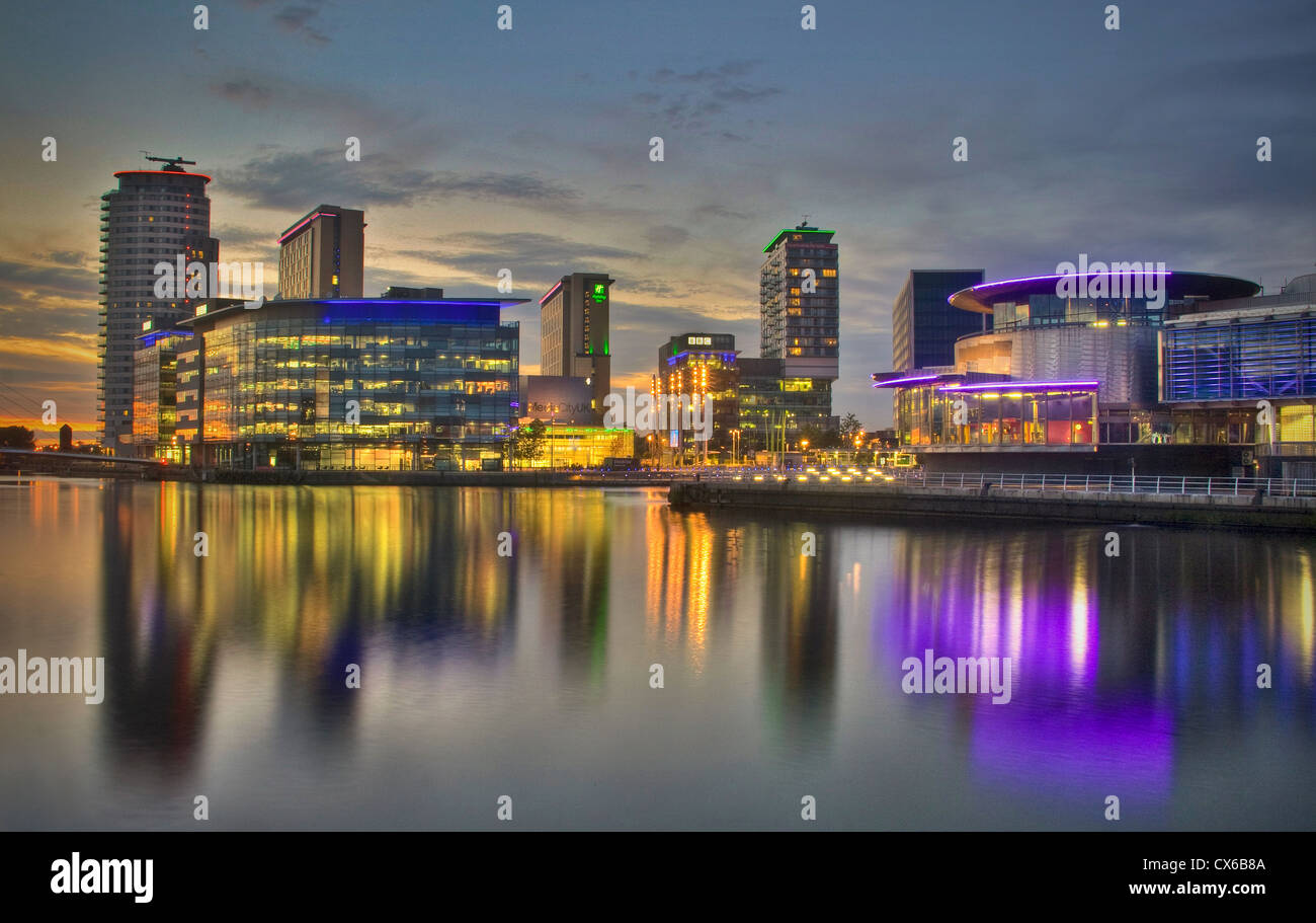 BBC Media City UK, Salford Quays. at evening plusThe Lowry Theatre, Salford Manchester UK - Stock Image
