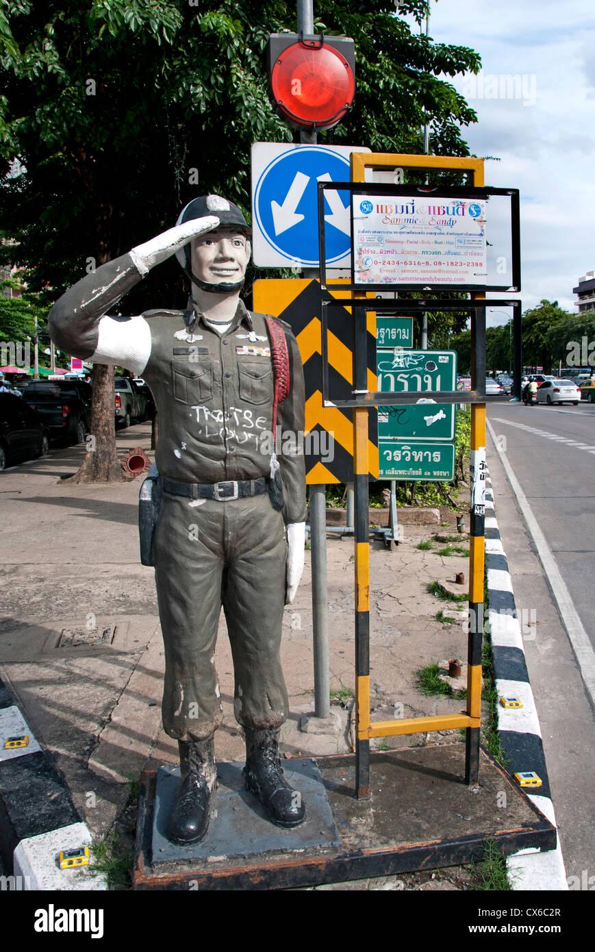 Bangkok doll fake police traffic cop Thailand Thai - Stock Image