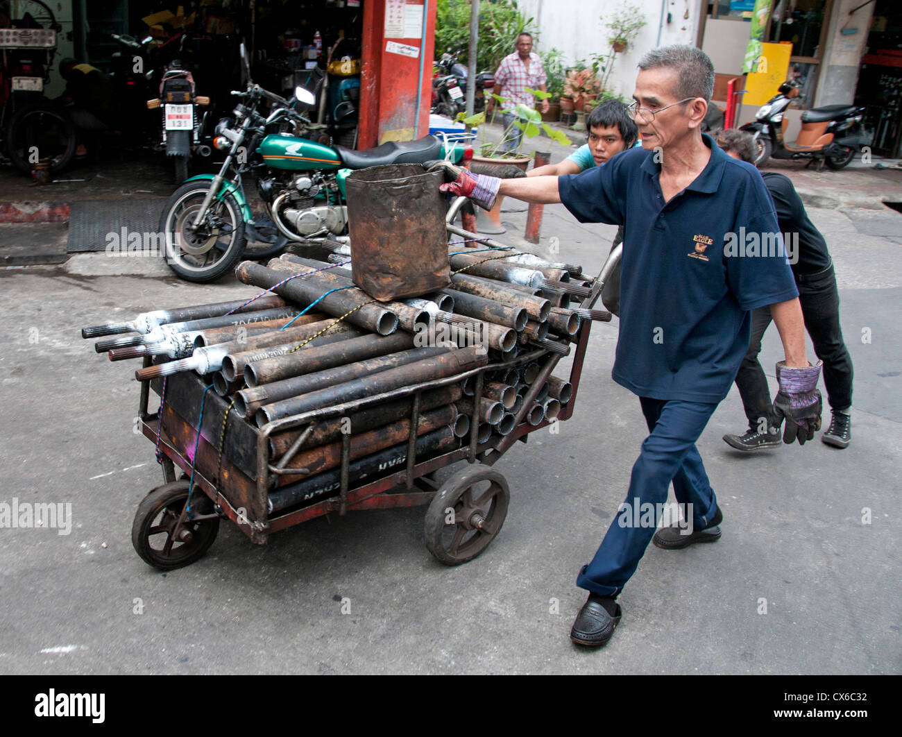 Bangkok Thailand Thai junkyard iron pipes smith repair parts - Stock Image