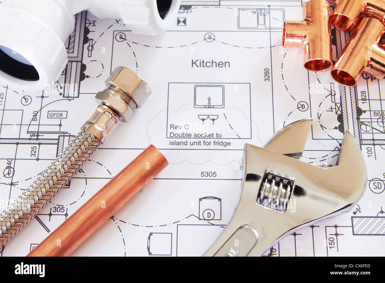 Selection Of Plumbing Equipment On House Plans - Stock Image