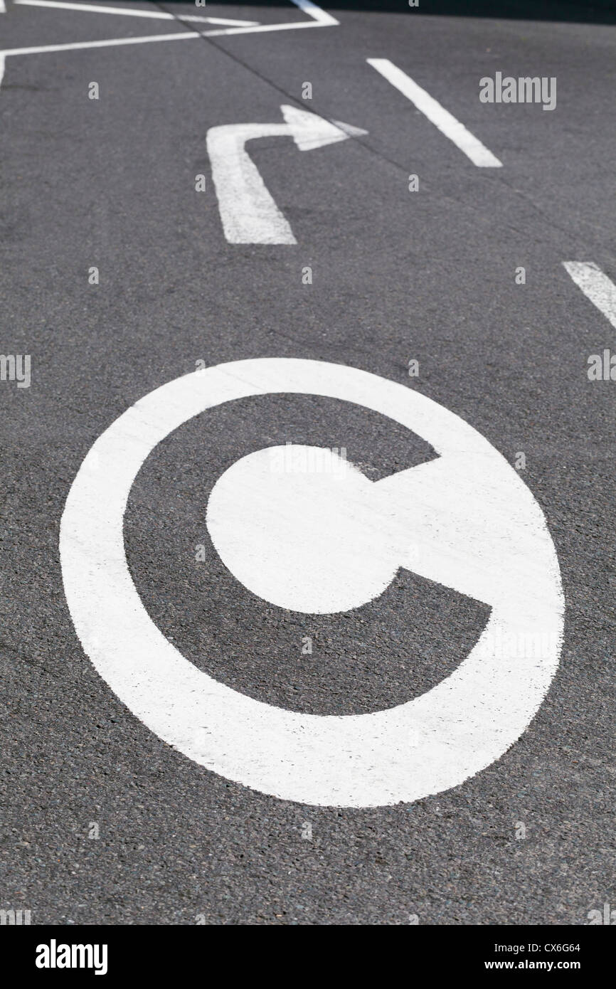 Congestion charge sign on the road, London, UK - Stock Image