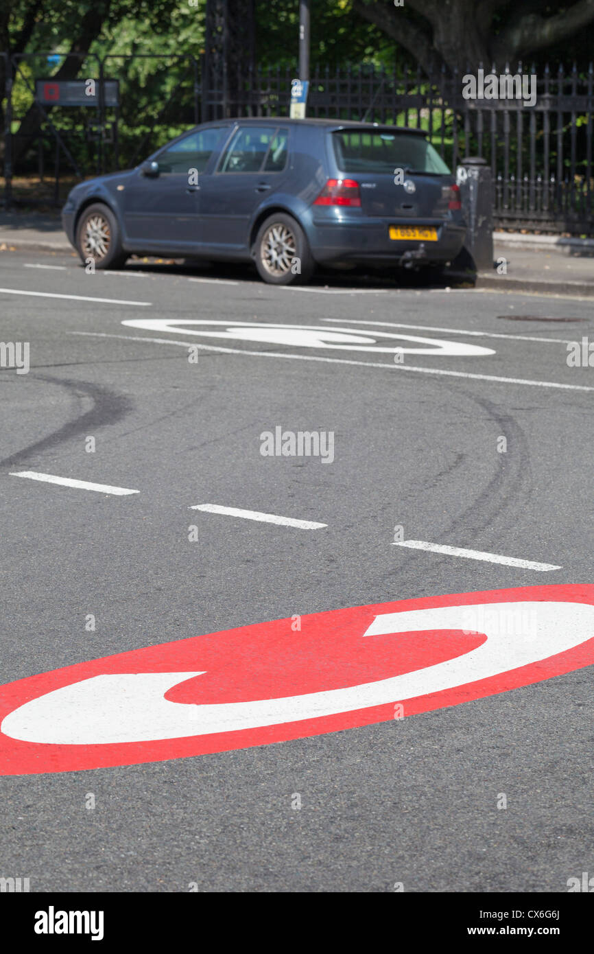 Congestion charge sign on the road, London, UK Stock Photo