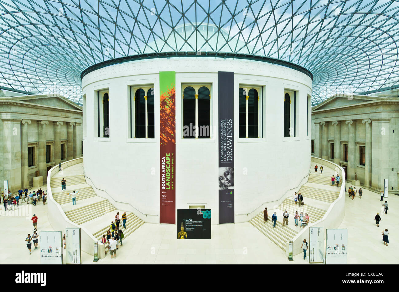 Queen Elizabeth II 'Great Court' glass roof designed by architect Norman Foster British Museum London UK - Stock Image