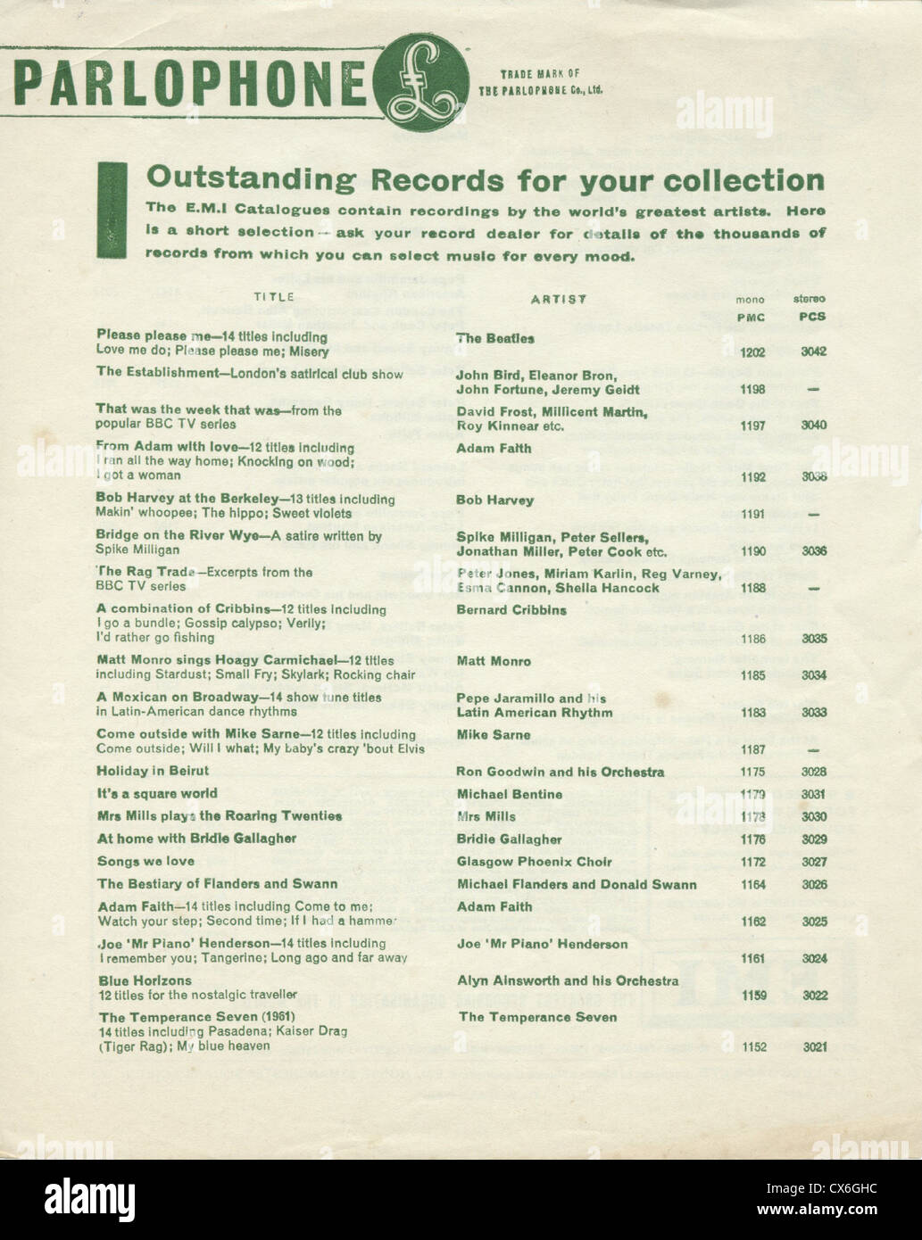 000629 - Parlophone Records 1963 Promotional Flyer - Stock Image
