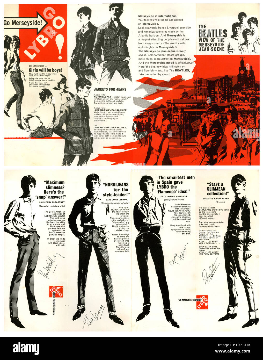 000636 - Beatles Lybro Clothing 1963 Promotional Flyer - Stock Image