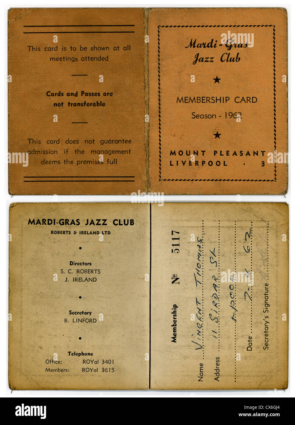 000553 - Mardi Gras Jazz Club 1962 Membership Card - Stock Image
