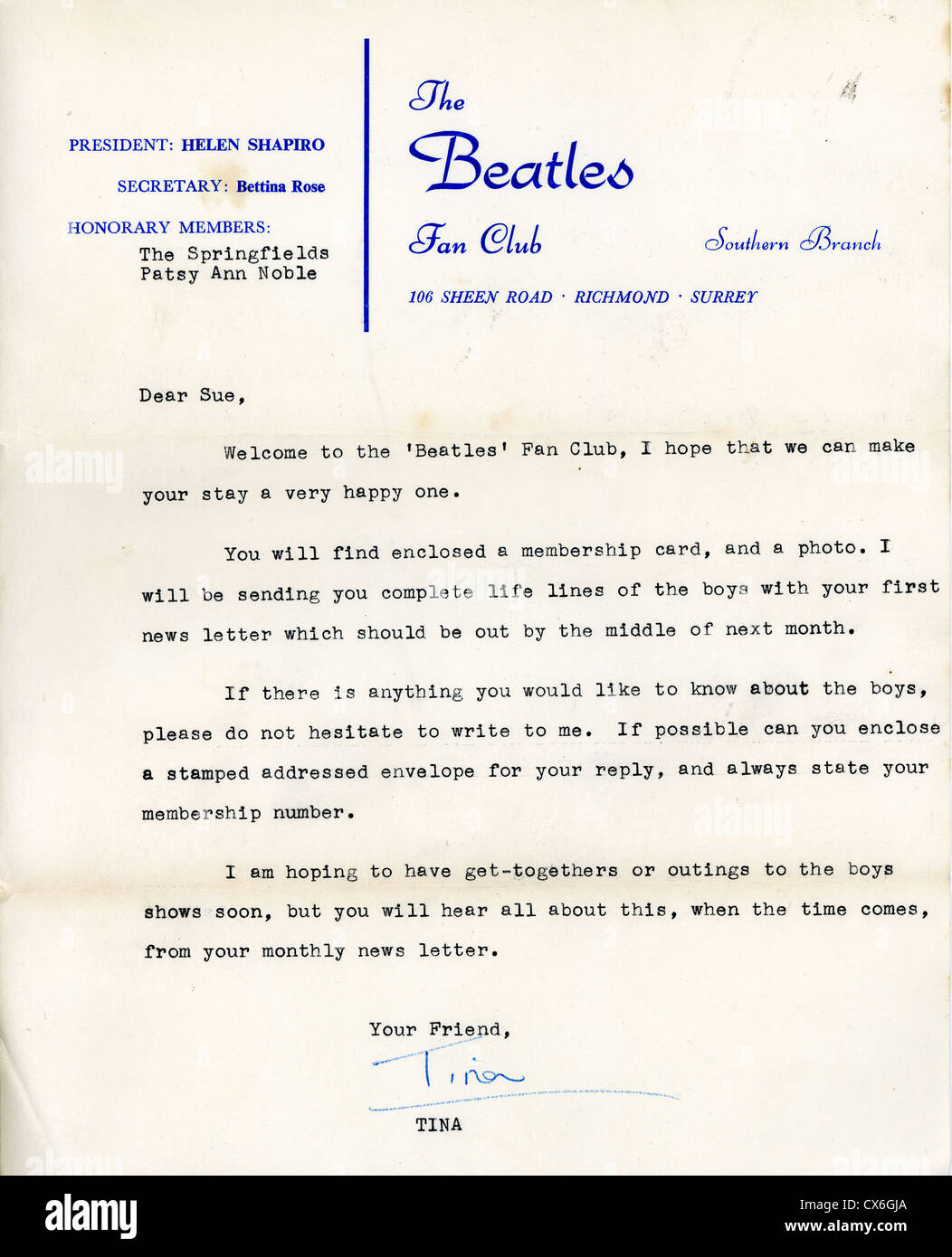 000650 - Official Beatles Fan Club 1963 Letter Signed By Bettina Rose - Stock Image