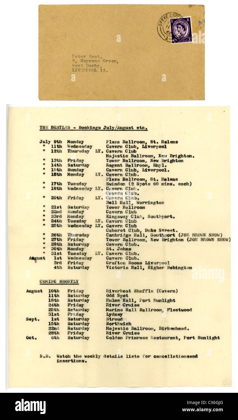 000548 - The Beatles Pete Best 1962 Tour Itinerary - Stock Image