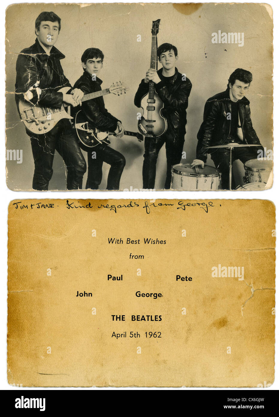 000498 - The Beatles 1962 Early Promotional Card - Stock Image