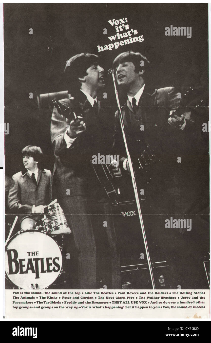 000648 - Beatles Vox 1963 Promotional Poster - Stock Image