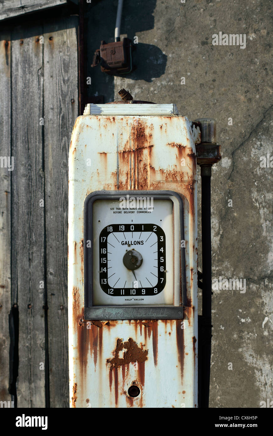 The end of oil? Disused petrol pump, Llanrug, North Wales. - Stock Image